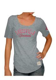Original Retro Brand Louisville Cardinals Womens Grey Streaky Scoop T-Shirt