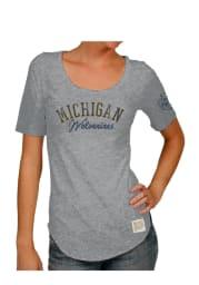Original Retro Brand Michigan Wolverines Womens Grey Streaky Scoop T-Shirt