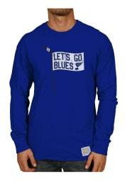 Original Retro Brand St Louis Blues Blue Slub Long Sleeve Fashion T Shirt