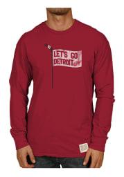 Original Retro Brand Detroit Red Wings Red Slub Long Sleeve Fashion T Shirt