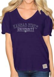 Original Retro Brand K-State Wildcats Womens Purple Nicole V-Neck T-Shirt