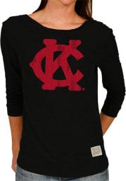 Original Retro Brand KC Monarchs Womens Black Scoop Back Long Sleeve Scoop Neck
