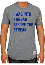 Original Retro Brand Kansas Jayhawks Grey Kansas Streak Short Sleeve Fashion T Shirt