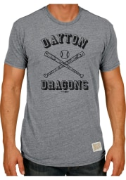 Original Retro Brand Dayton Dragons Grey Ball and Bat Short Sleeve Fashion T Shirt