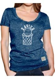 Original Retro Brand Xavier Musketeers Womens Navy Blue Arched Hoop Short Sleeve T-Shirt