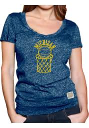Original Retro Brand Michigan Wolverines Womens Navy Blue Arched Hoop Short Sleeve T-Shirt
