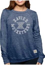 Original Retro Brand Xavier Musketeers Womens Navy Blue Arch Logo Crew Sweatshirt