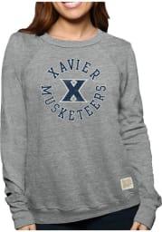 Original Retro Brand Xavier Musketeers Womens Grey Arch Logo Crew Sweatshirt