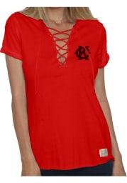 Original Retro Brand Kansas City Monarchs Womens Red Lace Up Short Sleeve T-Shirt