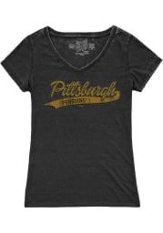 Original Retro Brand Pittsburgh Penguins Girls Black Tailsweep Short Sleeve Fashion T-Shirt