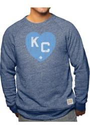 Original Retro Brand Kansas City Monarchs Mens Navy Blue Heart Kansas City Long Sleeve Fashion Sweatshirt
