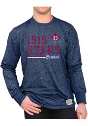 Original Retro Brand Detroit Stars Navy Blue Mock Twist Long Sleeve Fashion T Shirt