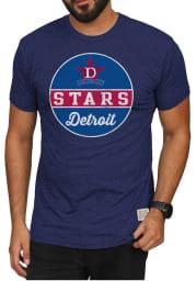Original Retro Brand Detroit Stars Navy Blue Mock Twist Short Sleeve Fashion T Shirt