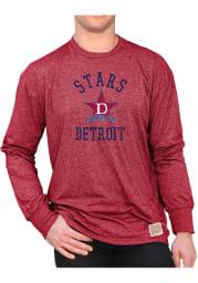 Original Retro Brand Detroit Stars Red Mock Twist Long Sleeve Fashion T Shirt