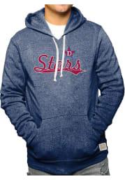 Original Retro Brand Detroit Stars Mens Navy Blue Triblend Fleece Fashion Hood