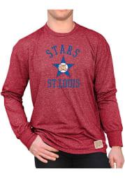 Original Retro Brand St Louis Stars Red Mock Twist Long Sleeve Fashion T Shirt