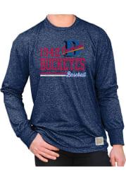 Original Retro Brand Cleveland Buckeyes Navy Blue Mock Twist Long Sleeve Fashion T Shirt