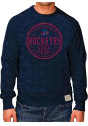 Original Retro Brand Cleveland Buckeyes Mens Navy Blue Raglan Crew Long Sleeve Fashion Sweatshirt