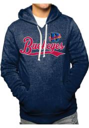 Original Retro Brand Cleveland Buckeyes Mens Navy Blue Triblend Fleece Fashion Hood