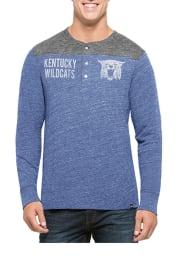 47 Kentucky Wildcats Blue Neps Henley Long Sleeve Fashion T Shirt