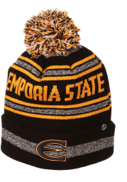 Zephyr Emporia State Hornets Black Jetty Cuff Pom Mens Knit Hat