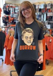 Joe Burrow Cincinnati Bengals Charcoal CARICATURE Short Sleeve Fashion Player T Shirt