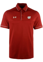 Under Armour Wisconsin Badgers Mens Red Podium Short Sleeve Polo