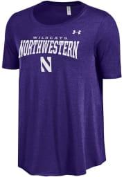 Under Armour Northwestern Wildcats Juniors Purple Trapeze Short Sleeve Scoop