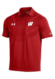 Under Armour Wisconsin Badgers Mens Red Tour Short Sleeve Polo