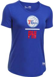 Under Armour Philadelphia 76ers Womens Blue Combine Lockup Short Sleeve Crew T-Shirt