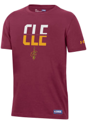 Under Armour Cleveland Cavaliers Youth Red City Abbreviation Short Sleeve T-Shirt