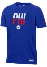 Under Armour Philadelphia 76ers Youth Blue City Abbreviation Short Sleeve T-Shirt