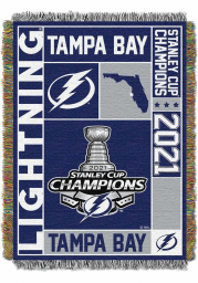 Tampa Bay Lightning 2021 Stanley Cup Champions Woven Tapestry Blanket
