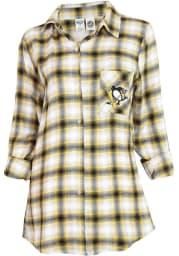 Pittsburgh Penguins Womens Black Plaid Forge Loungewear Sleep Shirt
