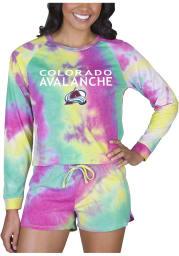 Colorado Avalanche Womens Yellow Tie Dye Long Sleeve PJ Set