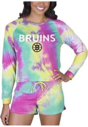 Boston Bruins Womens Yellow Tie Dye Long Sleeve PJ Set
