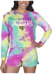Jacksonville Jaguars Womens Yellow Tie Dye Long Sleeve PJ Set