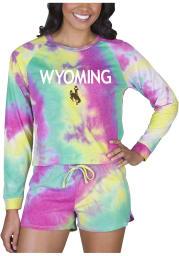 Wyoming Cowboys Womens Yellow Tie Dye Long Sleeve PJ Set