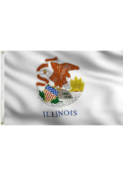 Illinois White Silk Screen Grommet Flag