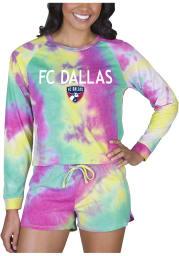 FC Dallas Womens Yellow Tie Dye Long Sleeve PJ Set
