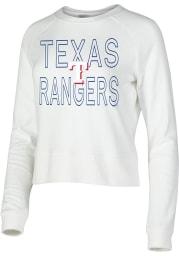Texas Rangers Womens White Colonnade Crew Sweatshirt
