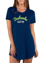 Seattle Seahawks Womens Navy Blue Marathon Loungewear Sleep Shirt