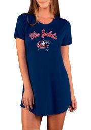 Columbus Blue Jackets Womens Navy Blue Marathon Loungewear Sleep Shirt