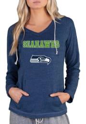 Seattle Seahawks Womens Navy Blue Mainstream Terry Hooded Sweatshirt