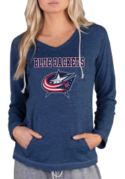 Columbus Blue Jackets Womens Navy Blue Mainstream Terry Hooded Sweatshirt