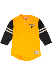 Mitchell and Ness Pittsburgh Pirates Gold Home Stretch Long Sleeve Fashion T Shirt