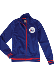 Mitchell and Ness Philadelphia 76ers Womens Blue Traditional Long Sleeve Track Jacket