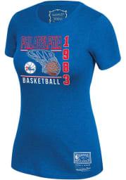 Mitchell and Ness Philadelphia 76ers Womens Blue BWT Short Sleeve T-Shirt