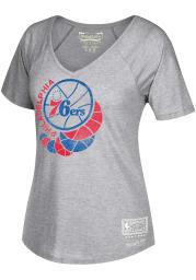 Mitchell and Ness Philadelphia 76ers Womens Grey BWVT Short Sleeve T-Shirt