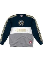 Mitchell and Ness Philadelphia Union Mens Navy Blue Leading Scorer Long Sleeve Crew Sweatshirt